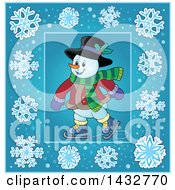 Clipart Of A Snowman Ice Skating Inside A Blue Snowflake Frame Royalty Free Vector Illustration