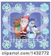 Clipart Of A Christmas Reindeer And Snowman With Santa Inside A Purple Snowflake Frame Royalty Free Vector Illustration