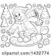 Clipart Of A Black And White Lineart Snowman Snow Boarding Royalty Free Vector Illustration