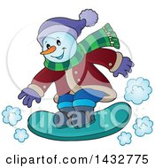 Clipart Of A Happy Snowman Snow Boarding Royalty Free Vector Illustration
