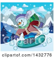 Clipart Of A Happy Snow Man Snowboarding Royalty Free Vector Illustration