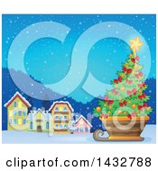 Clipart Of A Christmas Tree In A Sleigh Near A Village Royalty Free Vector Illustration