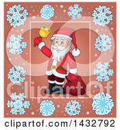 Clipart Of A Christmas Santa Ringing A Bell Inside A Snowflake Frame Royalty Free Vector Illustration