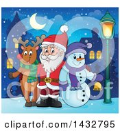 Clipart Of A Christmas Rudolph Reindeer Snowman And Santa Posing In A Village Royalty Free Vector Illustration