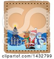 Parchment Border Of A Christmas Rudolph Reindeer Snowman And Santa Posing In The Snow