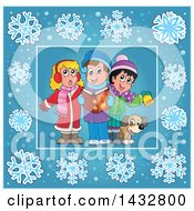 Group Of Christmas Carolers Inside A Blue Snowflake Frame