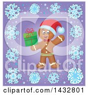 Clipart Of A Christmas Gingerbread Man Holding A Gift Inside A Purple Snowflake Frame Royalty Free Vector Illustration by visekart