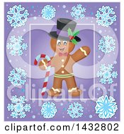 Clipart Of A Christmas Gingerbread Man Inside A Purple Snowflake Frame Royalty Free Vector Illustration by visekart