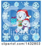 Clipart Of Christmas Polar Bears Inside A Blue Snowflake Frame Royalty Free Vector Illustration by visekart