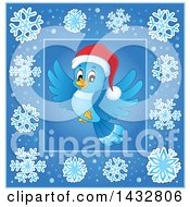 Clipart Of A Christmas Bluebird Inside A Blue Snowflake Frame Royalty Free Vector Illustration