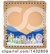 Clipart Of A Christmas Town Parchment Border Royalty Free Vector Illustration
