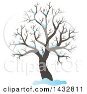 Clipart Of A Bare Winter Tree And Snow Royalty Free Vector Illustration