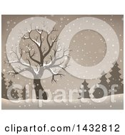 Clipart Of A Sepia Toned Bare Tree And Evergreens In The Snow Royalty Free Vector Illustration by visekart