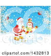 Clipart Of A Christmas Santa Claus Making A Snowman On A Winter Day With Birds Watching Royalty Free Vector Illustration