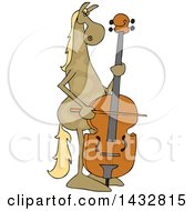 Cartoon Brown Horse Musician Playing A Double Bass