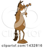 Cartoon Brown Horse Musician Playing A Violin