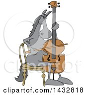 Cartoon Horse Musician Playing A Cello