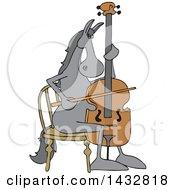 Cartoon Horse Musician Playing A Cello
