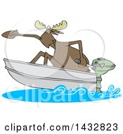 Cartoon Moose In A Speed Boat
