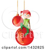 Clipart Of A Christmas Elf On Suspended Red Bauble Ornaments Royalty Free Vector Illustration by Pushkin
