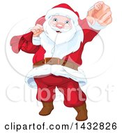 Clipart Of A Christmas Santa Claus Pointing Outwards Royalty Free Vector Illustration