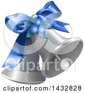 Clipart Of A Blue Bow Holly And Berries On Silver Christmas Bells Royalty Free Vector Illustration