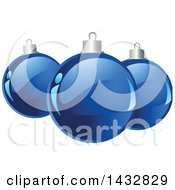 Clipart Of Shiny Blue Christmas Bauble Ornaments Royalty Free Vector Illustration