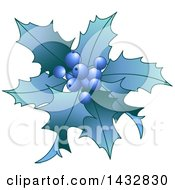 Clipart Of Blue Christmas Holly And Berries Royalty Free Vector Illustration