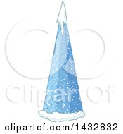 Blue Cone Christmas Tree With Snow