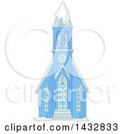 Clipart Of A Blue Church In The Snow Royalty Free Vector Illustration