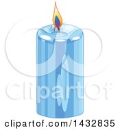 Clipart Of A Blue Christmas Candle Royalty Free Vector Illustration