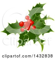Clipart Of Christmas Holly And Berries Royalty Free Vector Illustration