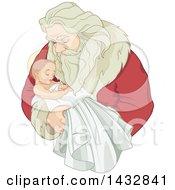 Christmas Santa Claus Holding Baby Jesus