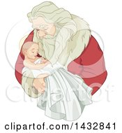 Clipart Of A Christmas Santa Claus Holding Baby Jesus Royalty Free Vector Illustration by Pushkin