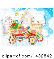 Scene Of Santa In An Antique Car In Front Of His Home In The Snow