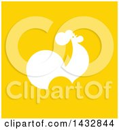 Clipart Of A White Silhouetted Rooster On Yellow Royalty Free Vector Illustration by elena