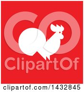 Clipart Of A White Silhouetted Rooster On Red Royalty Free Vector Illustration by elena