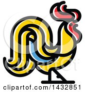Clipart Of A Red Yellow And Blue Rooster Royalty Free Vector Illustration by elena