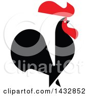 Clipart Of A Red And Black Rooster Crowing Royalty Free Vector Illustration by elena