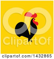 Clipart Of A Red And Black Rooster Crowing On Yellow Royalty Free Vector Illustration