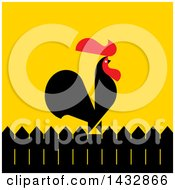 Clipart Of A Red And Black Rooster Crowing On A Fence Over Yellow Royalty Free Vector Illustration