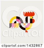 Clipart Of A Colorful Rooster On Beige Royalty Free Vector Illustration