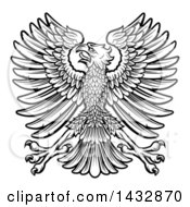 Clipart Of A Black And White Imperial Coat Of Arms Eagle Royalty Free Vector Illustration by AtStockIllustration