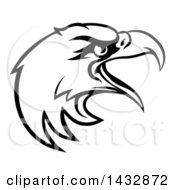 Clipart Of A Cartoon Black And White Bald Eagle Mascot Head Royalty Free Vector Illustration