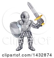 Clipart Of A Cartoon Knight In A Suit Of Armour Royalty Free Vector Illustration by AtStockIllustration