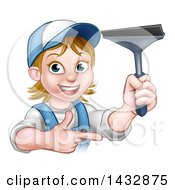 Clipart Of A Cartoon Happy White Female Window Cleaner In Blue Pointing And Holding A Squeegee Royalty Free Vector Illustration by AtStockIllustration