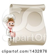 Clipart Of A Happy White Male Chef Giving A Thumb Up Around A Scroll Menu Board Royalty Free Vector Illustration