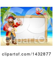 Clipart Of A Pirate Captain Holding A Scroll With A Parrot By A Blank Sign On A Tropical Beach Royalty Free Vector Illustration by AtStockIllustration