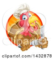 Clipart Of A Thanksgiving Turkey Bird Wearing A Chef Hat And Holding Silverware In A Sunset Circle Royalty Free Vector Illustration by AtStockIllustration