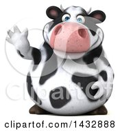 Clipart Of A 3d Chubby Cow Waving On A White Background Royalty Free Illustration by Julos